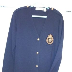 Dana Buchman size medium navy blue nautical cardig